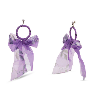 Kensie Purple Fabric Wrapped with Bow Hoop Earrings