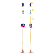 Kensie Multi Color Rhinestone Drop Dangle Threader Earrings