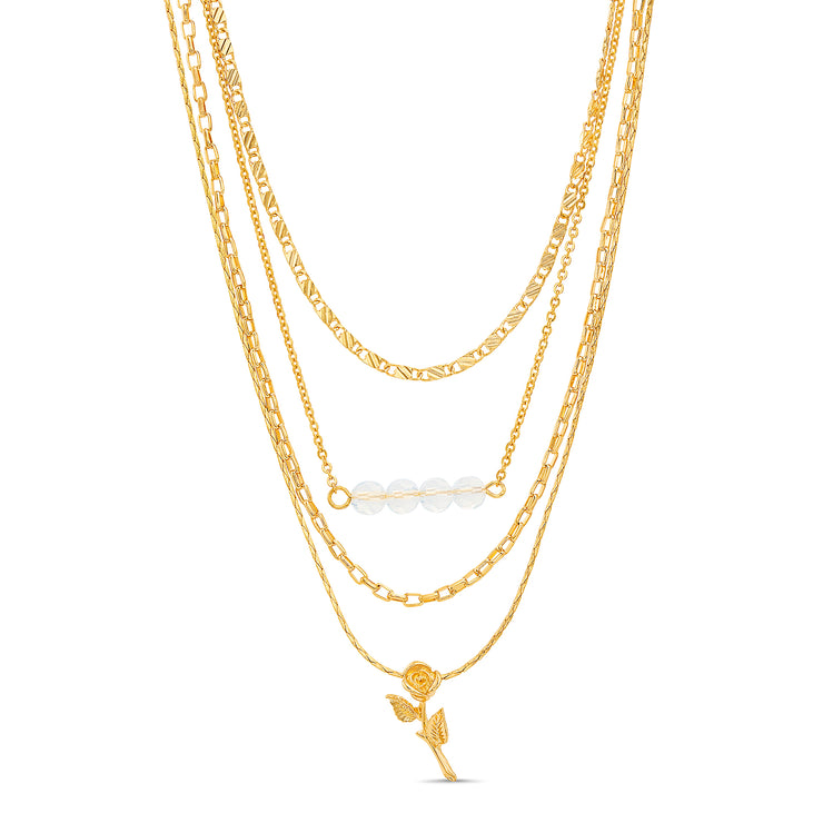 Kensie Yellow Gold-Toned Rose and Beaded Bar Pendant Layered Chain Necklace