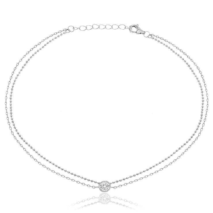 Bezel Set Cubic Zirconia Bead Chain Anklet for Women in Rhodium Plated Sterling Silver