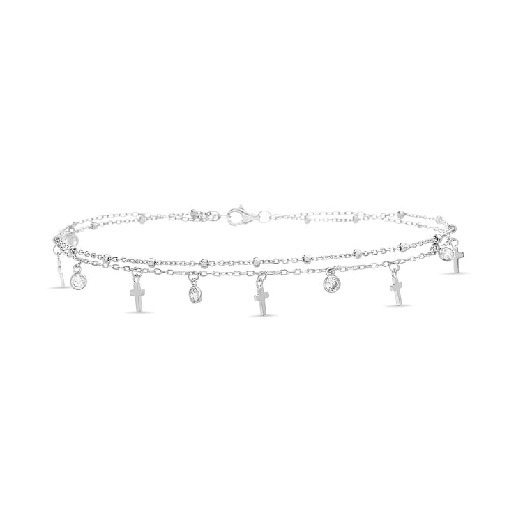 Cubic Zirconia Cross Charm Double Row Anklet in Rhodium Plated Sterling Silver