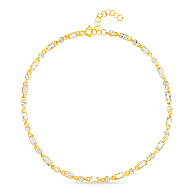 Round & Baguette Cubic Zirconia Long Link Bracelet / Anklet in Yellow Gold Plated Sterling Silver