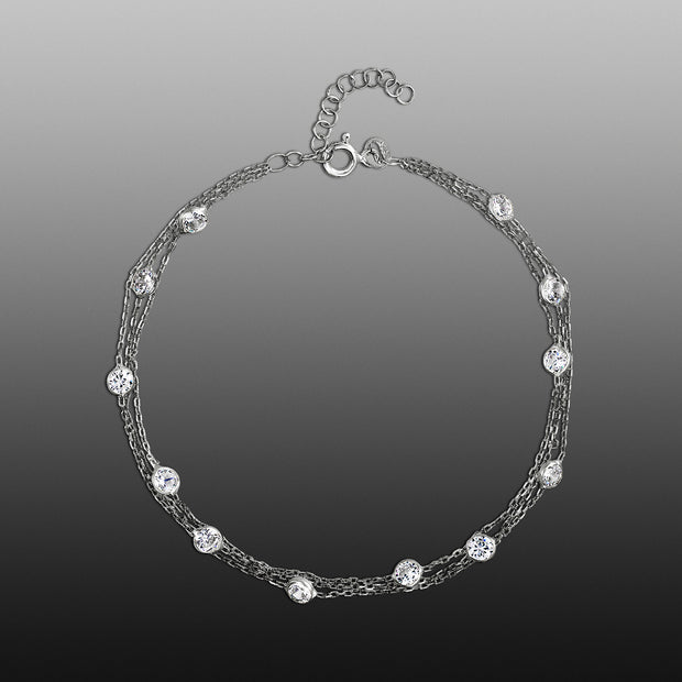 Cubic Zirconia Multi Layer Chain Anklet for Women in Rhodium Plated Sterling Silver