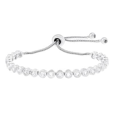 Cubic Zirconia Adjustable Bolo Style Tennis Bracelet in Rhodium Plated Sterling Silver