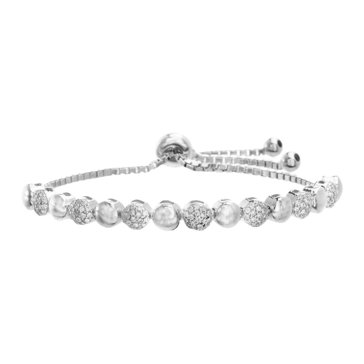 Cubic Zirconia Round Disc Adjustable Bolo Tennis Bracelet in Sterling Silver