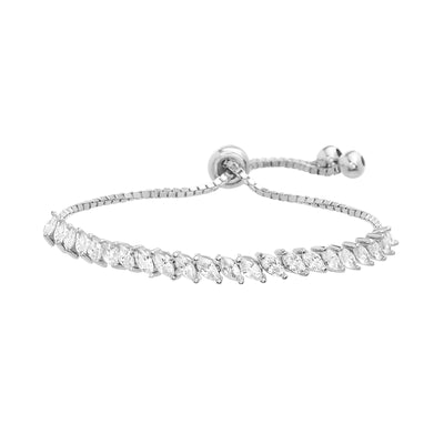Marquise Cubic Zirconia Adjustable Bolo Tennis Bracelet in Rhodium Plated Sterling Silver
