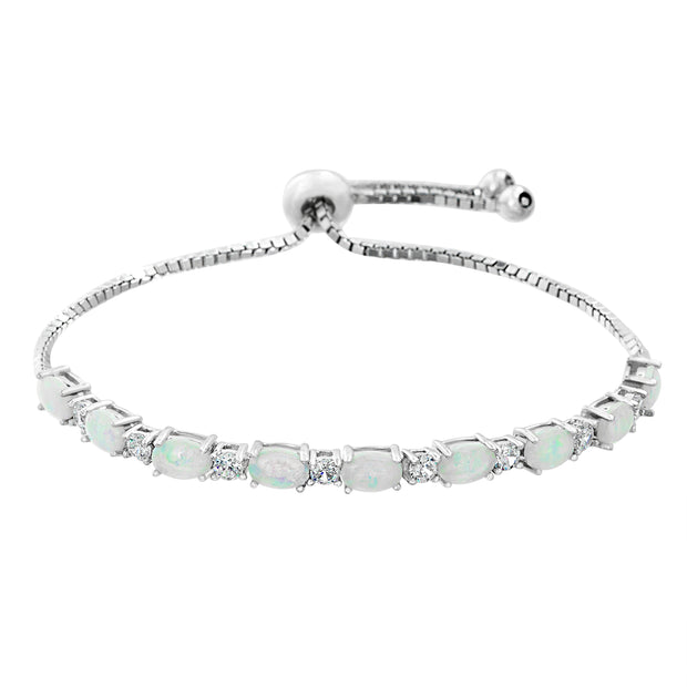 Laboratory Created Opal and Cubic Zirconia Adjustable Bolo Tennis Bracelet in Sterling Silver