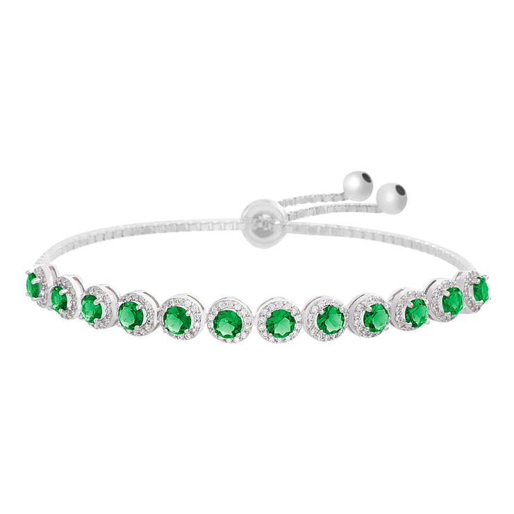 Simulated Gemstone and Cubic Zirconia Adjustable Bolo Bracelet in Sterling Silver