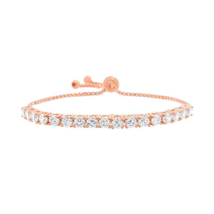 Cubic Zirconia Adjustable Bolo Tennis Bracelet in Rose Gold Plated Sterling Silver