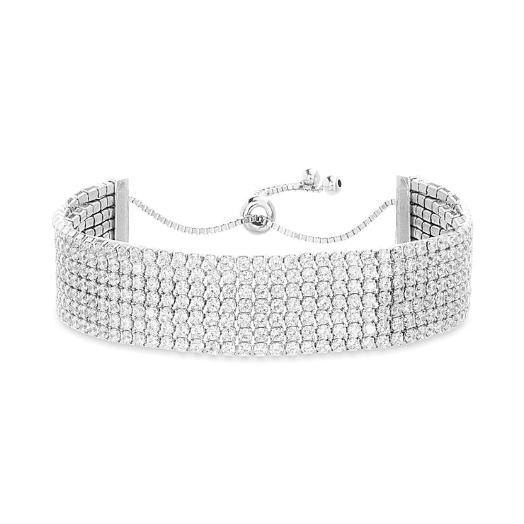 Multi Row Cubic Zirconia Adjustable Bolo Style Tennis Bracelet in Rhodium Plated Sterling Silver
