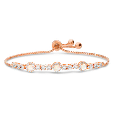 Round Prong Set Laboratory Created Opal and Cubic Zirconia Adjustable Tennis Style Bridal Bracelet for Women in Rose Gold Plated 925 Sterling Silver