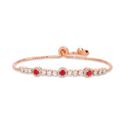 Lab Created Opal, Simulated Ruby or Blue Sapphire and CZ Tennis Bracelet in Plated Sterling Silver