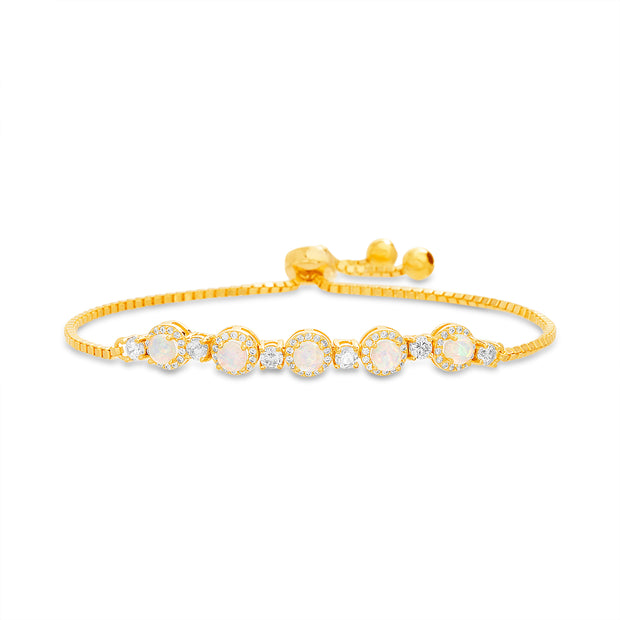Round Prong Set Laboratory Created Opal and Cubic Zirconia Adjustable Tennis Style Bridal Bracelet for Women in Yellow Gold Plated 925 Sterling Silver