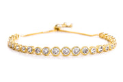 Round Bezel Set Cubic Zirconia Adjustable Antique Style Bridal Tennis Bracelet for Women in Yellow Gold Plated 925 Sterling Silver