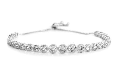 Round Cubic Zirconia Antique Style Tennis Bracelet in Yellow Gold, Rose Gold or Rhodium Over Silver
