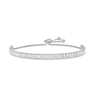 Baguette Cubic Zirconia Adjustable Bolo Style Tennis Bracelet in Sterling Silver