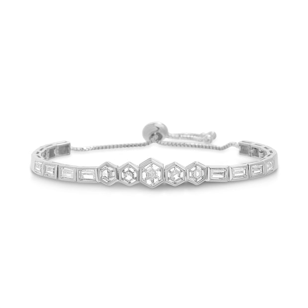 Hexagon Baguette Cubic Zirconia Adjustable Bolo Style Tennis Bracelet in Sterling Silver