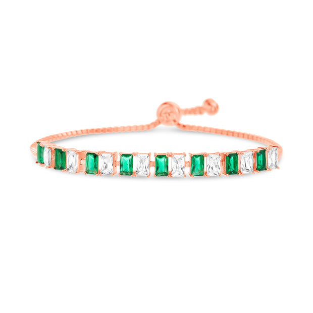 Radiant Cut Prong Set Simulated Emerald and Cubic Zirconia Adjustable Tennis Style Bridal Bracelet for Women in Rose Gold Plated 925 Sterling Silver