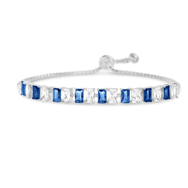 Simulated Emerald, Ruby, Blue Sapphire or LC Opal and CZ Tennis Bracelet in Plated Silver