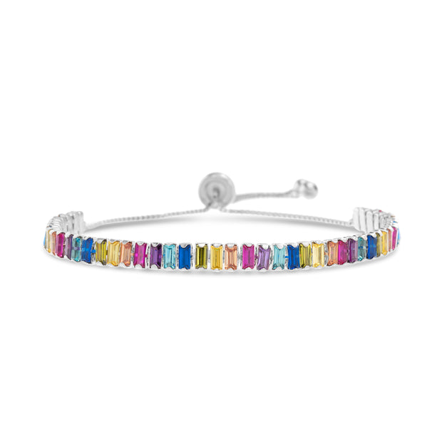 Rainbow Baguette Cubic Zirconia Adjustable Bolo Tennis Bracelet in Sterling Silver