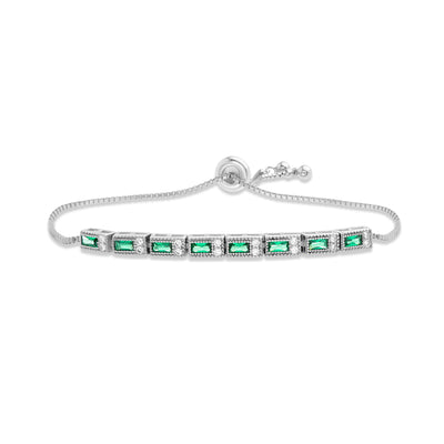 Simulated Emerald and Cubic Zirconia Art Deco Style Adjustable Bolo Tennis Bracelet in Rhodium Plated Sterling Silver