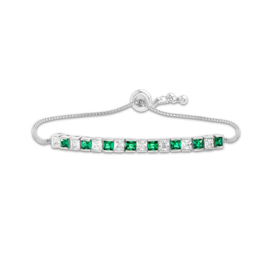 Princess Cut Simulated Emerald and Cubic Zirconia Adjustable Bolo Tennis Bracelet in Rhodium Plated Sterling Silver