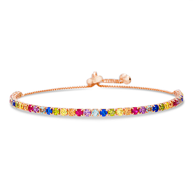 Rainbow 4mm Cubic Zirconia Adjustable Bolo Slider Bracelet in Sterling Silver