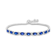 Oval Prong Set Simulated Blue Sapphire and Round Cubic Zirconia  Adjustable Bridal Tennis Bracelet for Women in Rhodium Plated 925 Sterling Silver