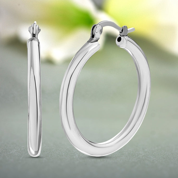 High Polished 30mm Sterling Silver Hoop Earrings
