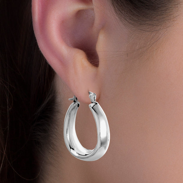 Rhodium Plated Sterling Silver High Polished Tapered Oval Hoop Earrings for Women