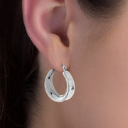 23MM Hoop Earrings in Rhodium Plated Sterling Silver