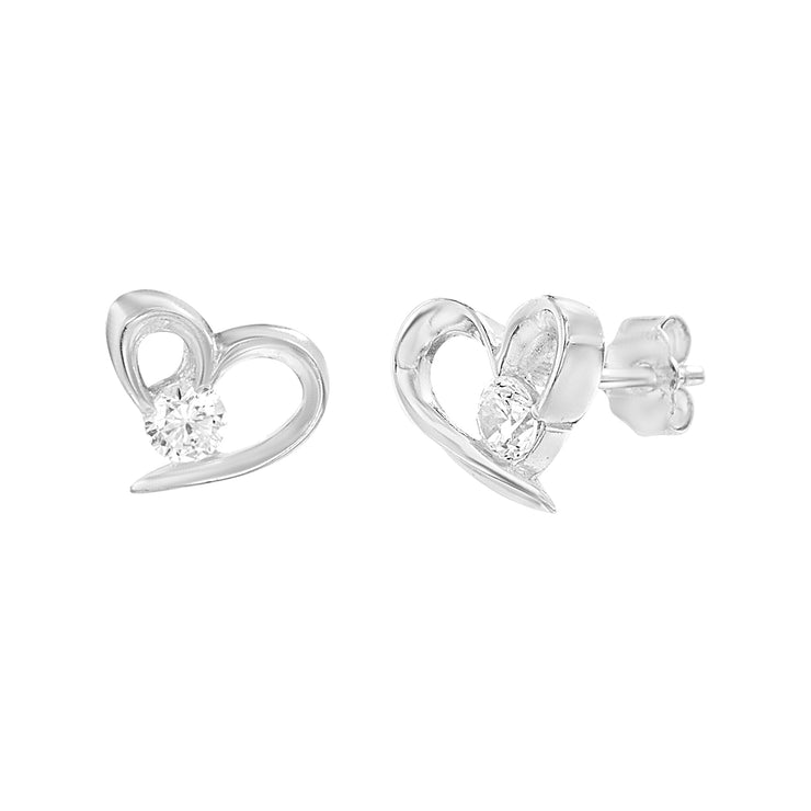 Cubic Zirconia Small Heart Earrings in Sterling Silver