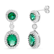 Oval and Round Cut Prong Set Simulated Emerald and Cubic Zirconia Drop Dangle Bridal Halo Earring for Women in Rhodium Plated 925 Sterling Silver