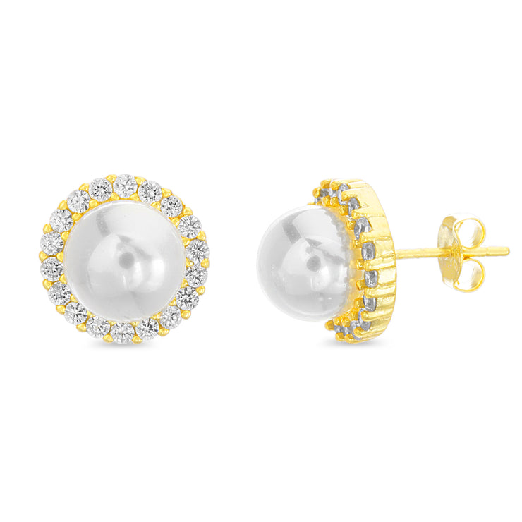 Round Simulated Pearl and Cubic Zirconia Stud Bridal Halo Earring for Women in Yellow Gold Plated 925 Sterling Silver