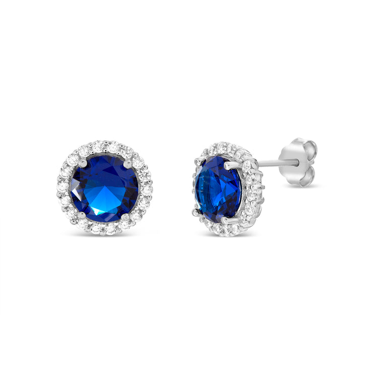 Round Prong Set Simulated Blue Sapphire and Cubic Zirconia Stud Bridal Halo Earring for Women in Rhodium Plated 925 Sterling Silver