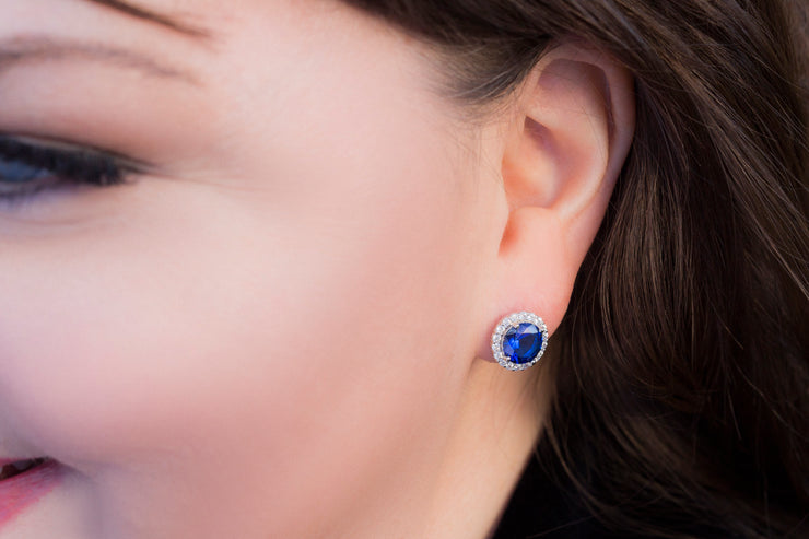Round Simulated Blue Sapphire or Simulated Morganite Stud Halo Earring in Sterling Silver