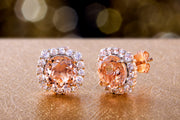 Cushion Shaped Simulated Gemstone or Cubic Zirconia Stud  Halo Earring in Rose Gold Plated Silver