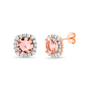 Cushion Shaped Prong Set Simulated Morganite and Cubic Zirconia Stud Bridal Halo Earring for Women in Rose Gold Plated 925 Sterling Silver
