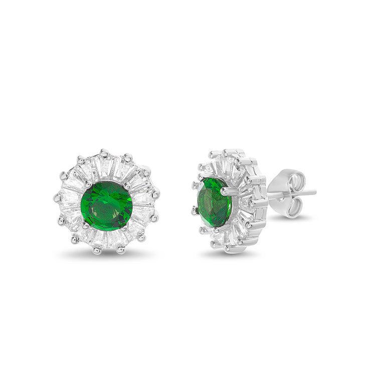 Simulated Emerald and Baguette Cubic Zirconia Halo Stud Earring in Rhodium Plated Sterling Silver