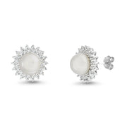 Round Simulated Pearl and Cubic Zirconia Stud Bridal Halo Earring for Women in Rhodium Plated 925 Sterling Silver