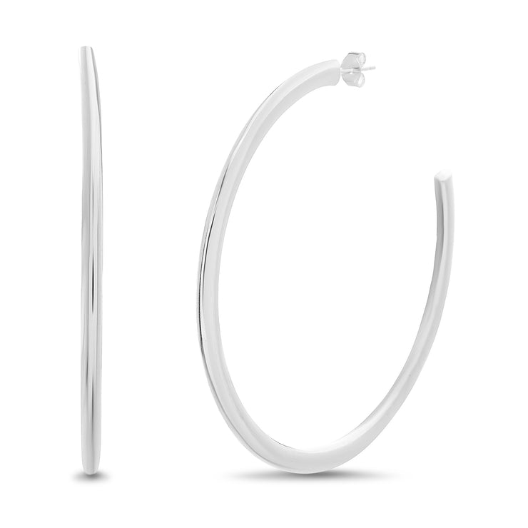 63MM Sterling Silver Tube C Hoop Earrings
