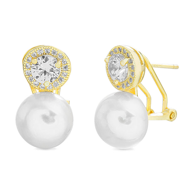Round Prong Set Freshwater Cultured Pearl and Cubic Zirconia Stud Bridal Halo Earring for Women with Omega Back in Yellow Gold Plated 925 Sterling Silver