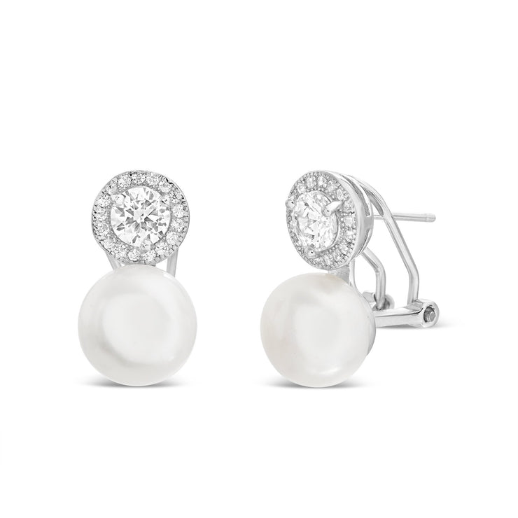 Freshwater Cultured Pearl and Cubic Zirconia Stud Earring in Yellow Gold or Rhodium Plated Silver