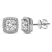 Princess Cut Cubic Zirconia Stud Earring in Rhodium Plated Sterling Silver