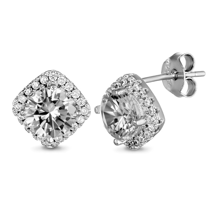 Cubic Zirconia Halo Stud Earrings in Rhodium Plated Sterling Silver