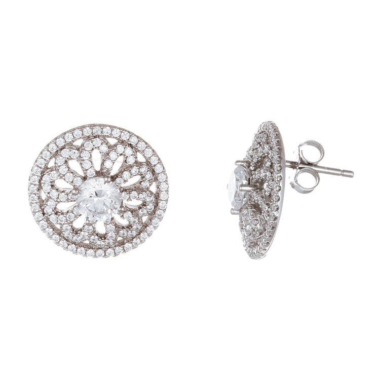 Cubic Zirconia Round Flower Halo Stud Earring in Rhodium Plated Sterling Silver
