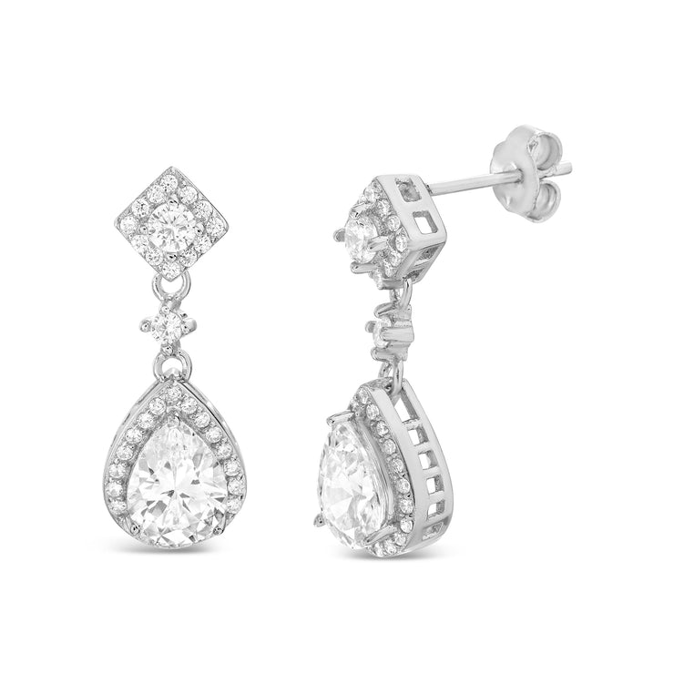 Pear and Round Shaped Prong Set Cubic Zirconia Drop Dangle Bridal Halo Earring for Women in Rhodium Plated 925 Sterling Silver