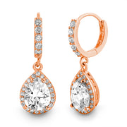 Pear and Round Shaped Cubic Zirconia Drop Dangle  Halo Earring in Sterling Silver