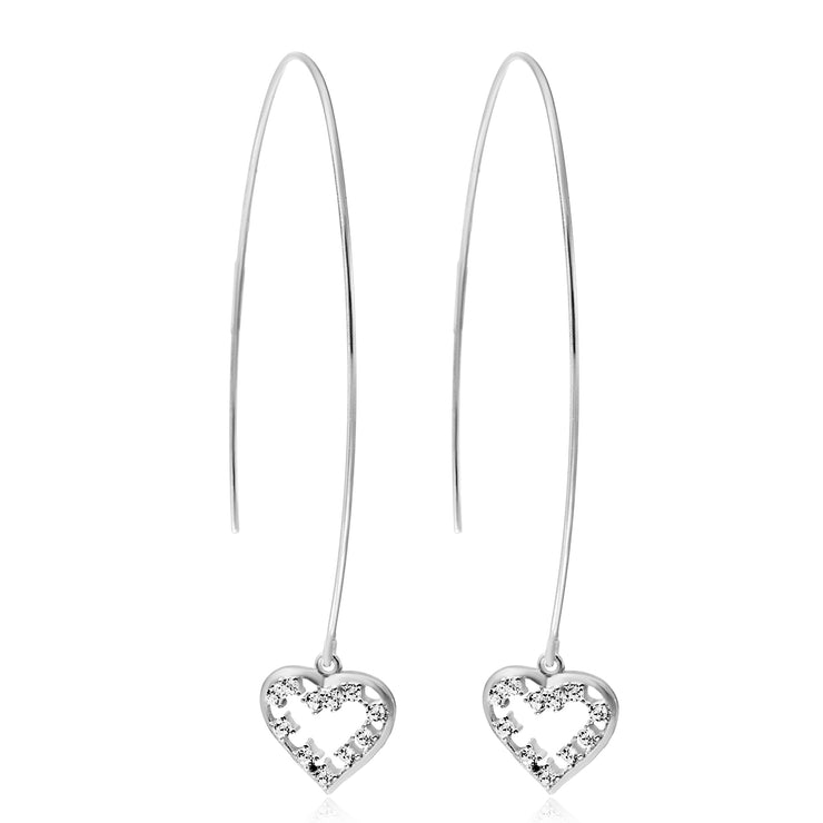 Cubic Zirconia Long Threader Earrings in Sterling Silver