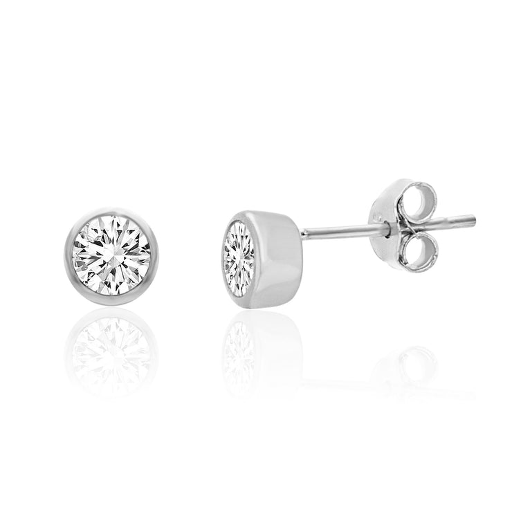 Bezel Set Cubic Zirconia Stud Earrings in Rhodium Plated Sterling Silver